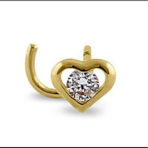 14K  Solid Yellow Gold CZ Mini Heart Nose Stud